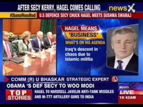 Chuck Hagel visits India to pursue military projects