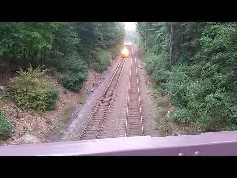 MBTA commuter rail from Old Stow Road bridge