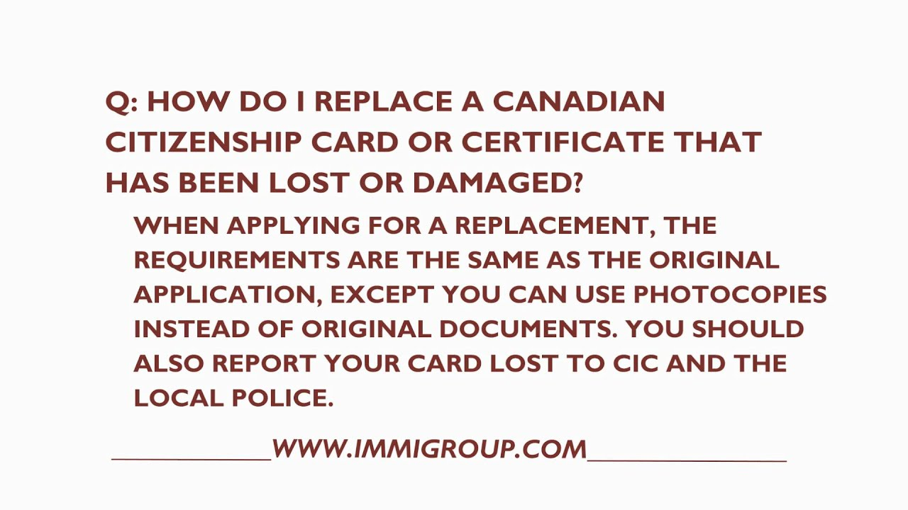 How Do I Replace A Canadian Citizenship Card That Has Been Lost Or