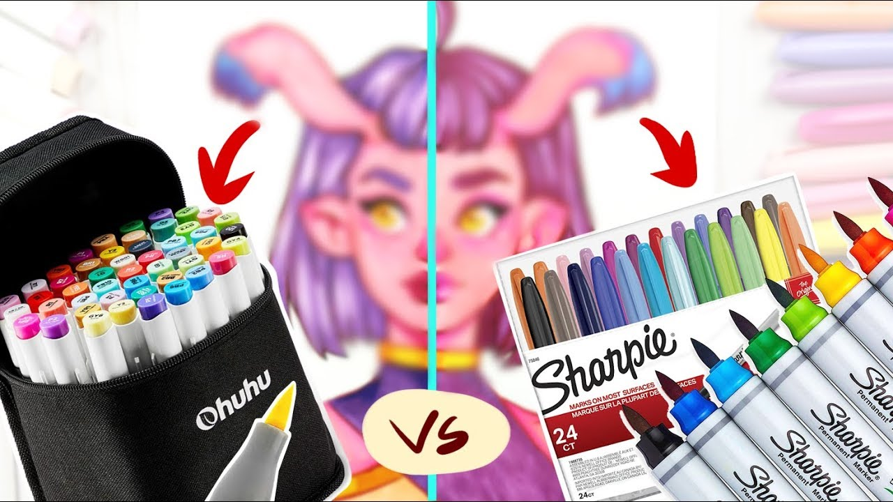 SHARPIE MARKERS vs OHUHU BRUSH MARKERS - Coloring Using a Limited Color set