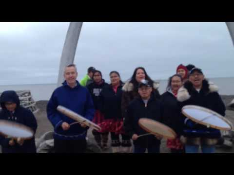Barrow Dancers drum for Standing Rock Sioux Drive