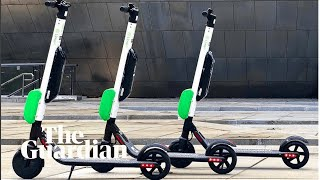 Scooters dumped on US city streets yell: 'Unlock me or I'll call the police'