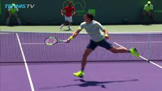 Milos Raonic brilliant volley bounces back over the net! | Miami Open 2018