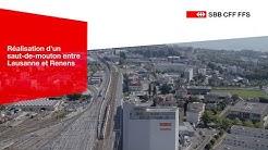 SWISS-FLY - CFF - 1ère étape de réalisation d'un saut-de-mouton entre Lausanne et Renens.