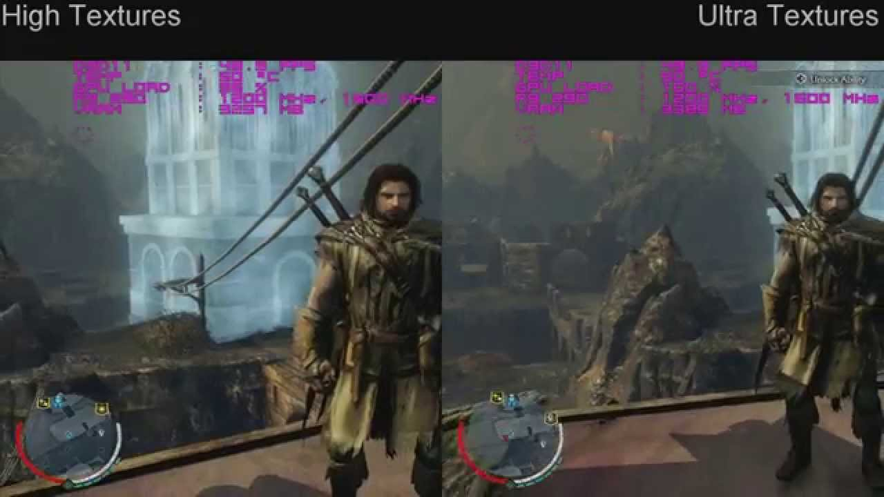 Middle Earth Shadow Of Mordor High Textures Vs Ultra Youtube