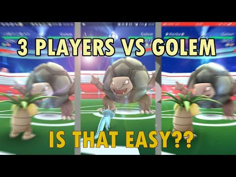 Pokemon Go: 3-man Tier 4 GOLEM Raid- Not as hard as we thought again? 三人挑戰滾動岩頭目