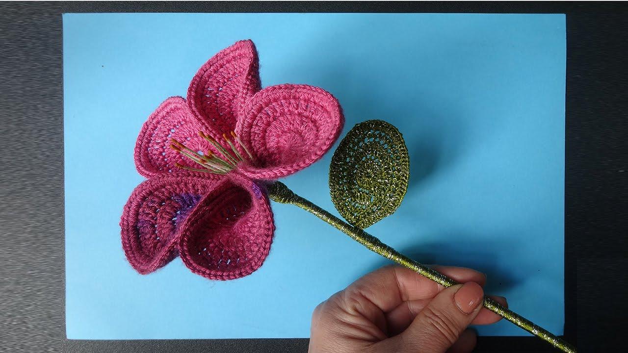 как связать цветок лилия мастер класс флористика Youtube
