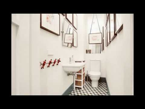 Small long narrow bathroom design