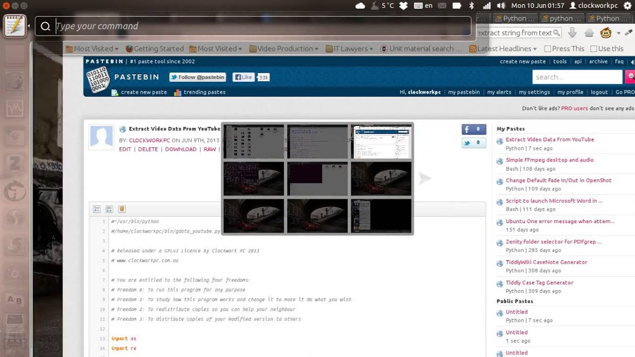 Demo of Python Script to Extract and Parse YouTube Information Using Video  URL Name