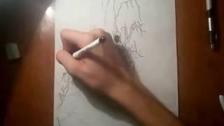 малюнок гелевойю ручкою в стилі  ( графіка )