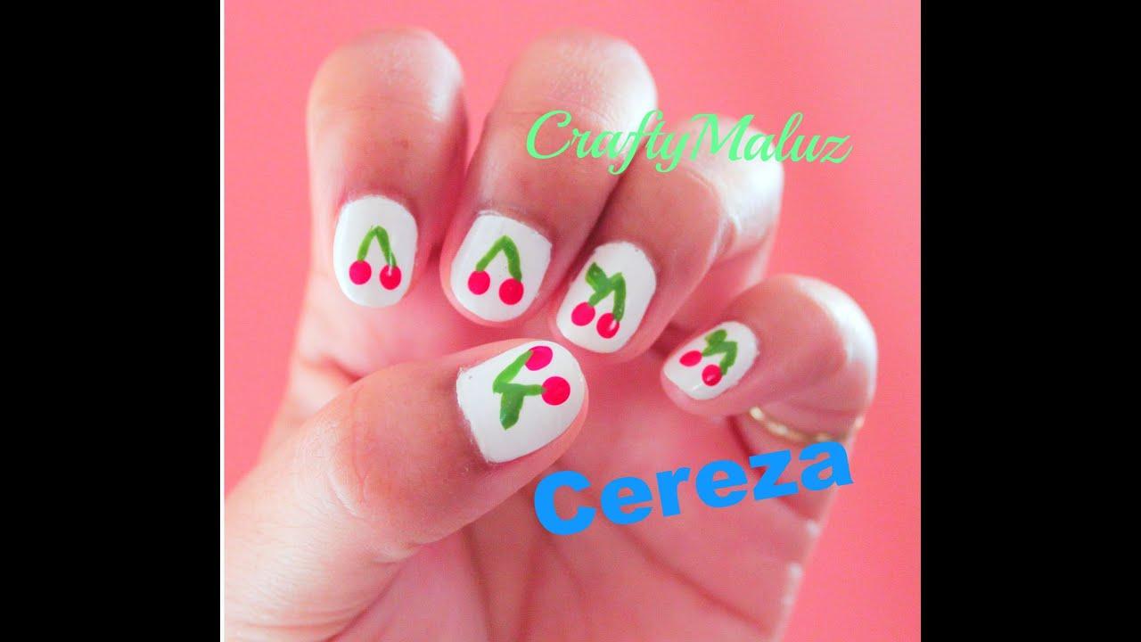 Tutorial:♥ Diseño de uñas fáciles de Cereza / Nail art Tutorial ...