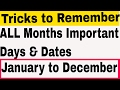 Important Days & Dates | Tricks to Remember Important Days in a Month | January to December