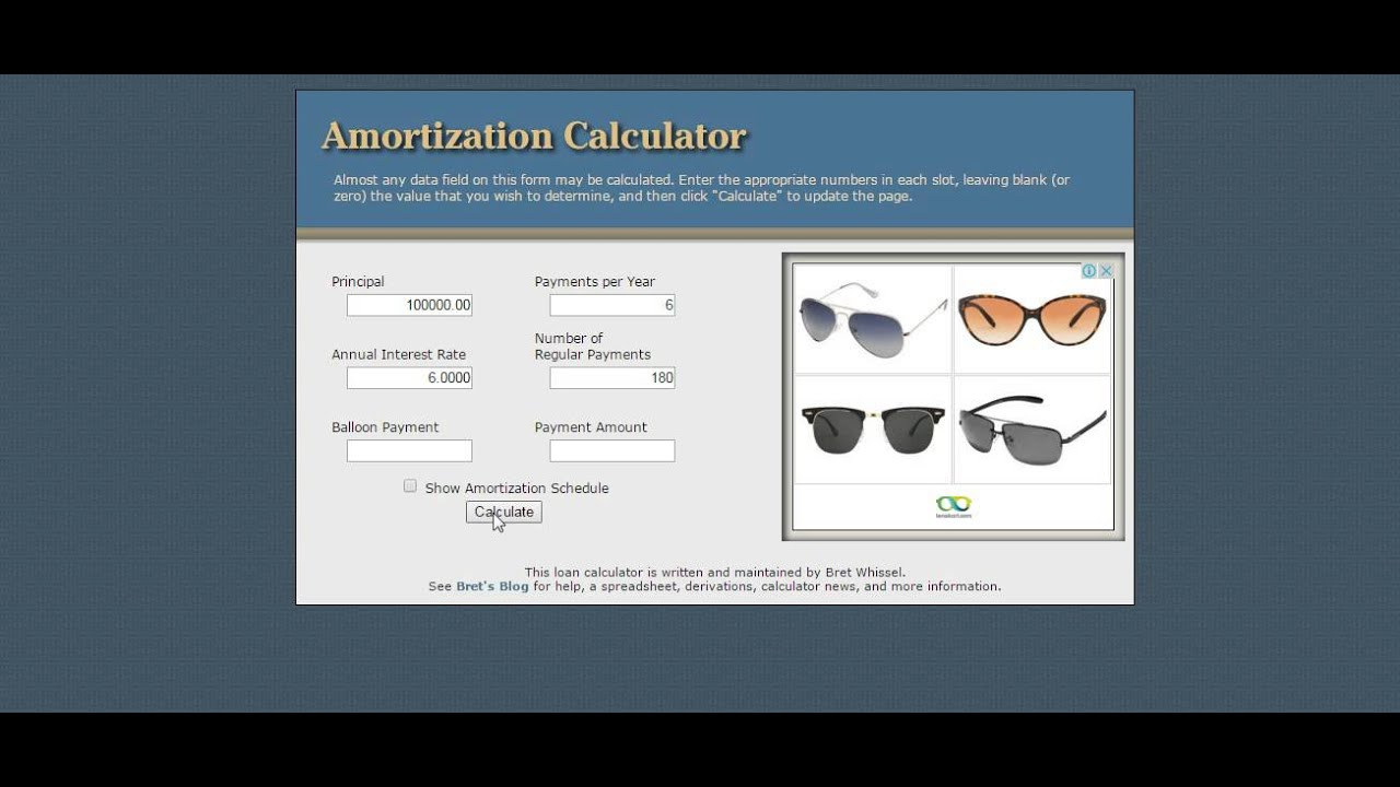 Amortization Schedule Calculator - Youtube
