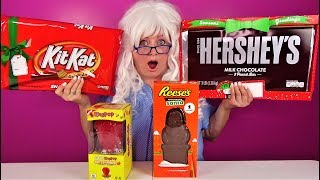 Giant Candy Reeses Hershey Kit Kat Ring Pop Granny Funny Unboxing Review