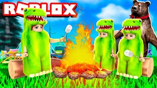 DINOS NO ACAMPAMENTO MAIS DOIDO DO ROBLOX!! 😂