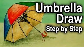 How to draw An beautiful umbrella - step by step - very easily for kids