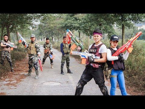 LTT Nerf War : Police Patrol SEAL X Warriors Nerf Guns Fight Criminal Group Hunter Madam