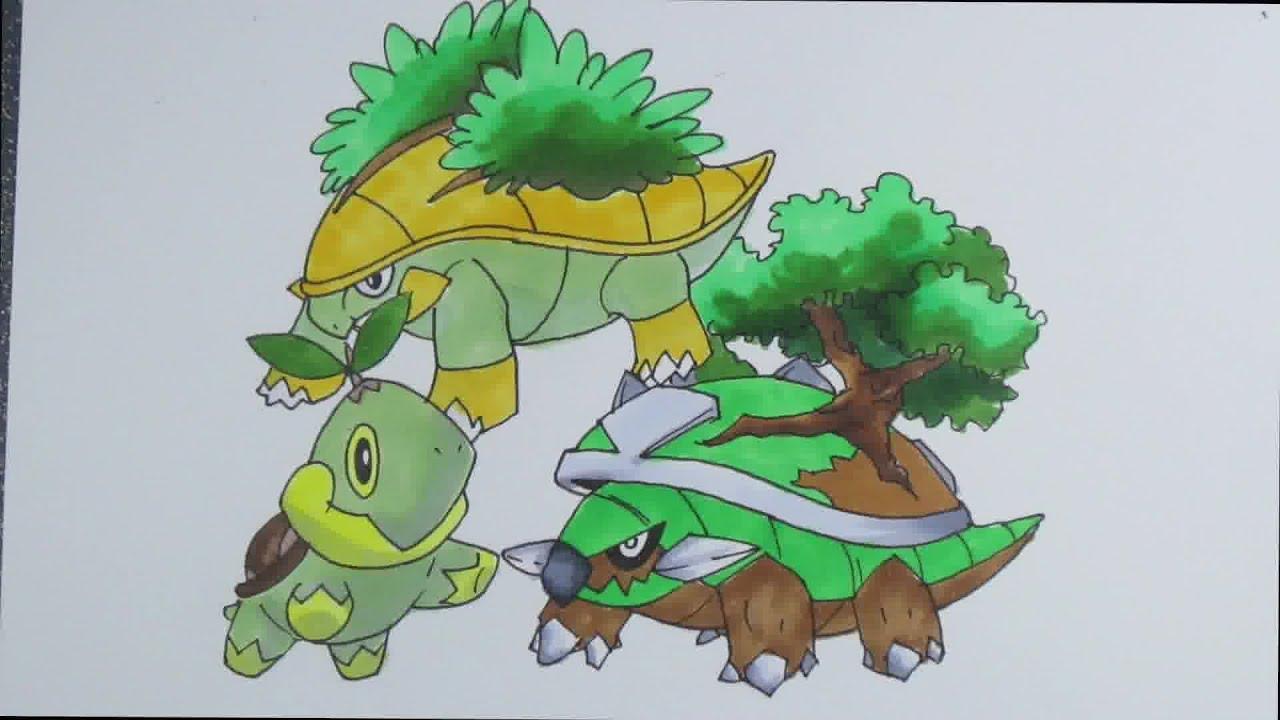 Drawing Pokemon No387 Turtwig No388 Grotle No389 Torterra