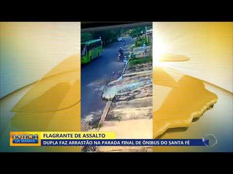 Dupla faz arrastão na parada final de ônibus do Santa Fé