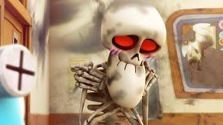 面白いアニメーション漫画  Spookiz  骸骨が露出 スープキッズ 子供のための漫画