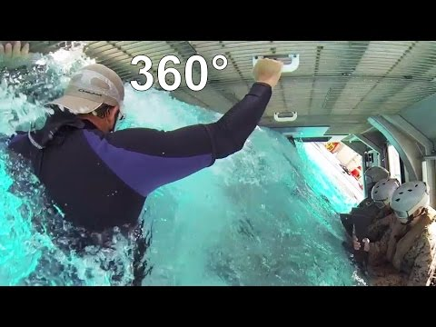 360° Video Marines US Simulates Helicopter Crashes At Sea - Escape From The Sinking Helicopter