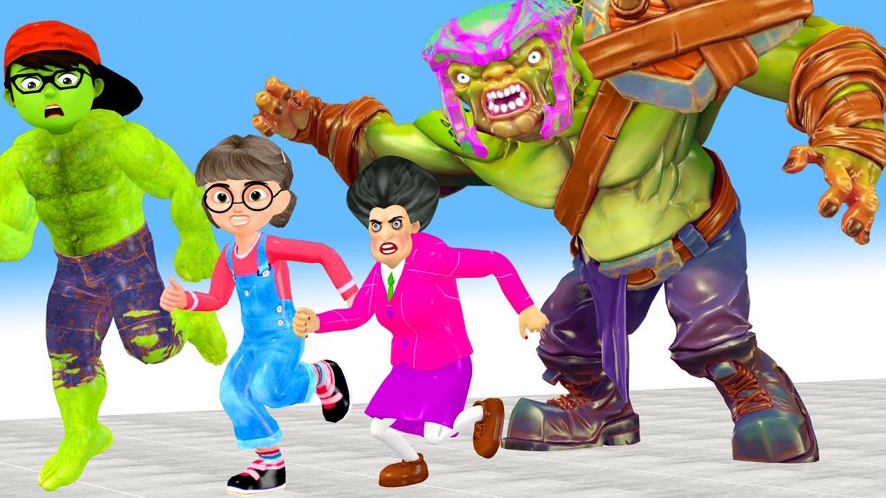 Scary teacher 3d Nickhulk vs giant zombie - Nickhulk recuse Tani and Miss T on City Animation gaming