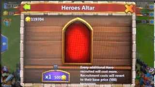 What are the chances of getting a Legendary Hero using 100 thousand HB in Castle Clash
