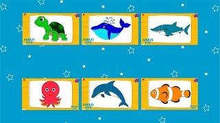 Как Нарисовать Морских Животных для Детей Все Серии Подряд🐬 Учимся Рисовать Дельфина Акулу Черепаху