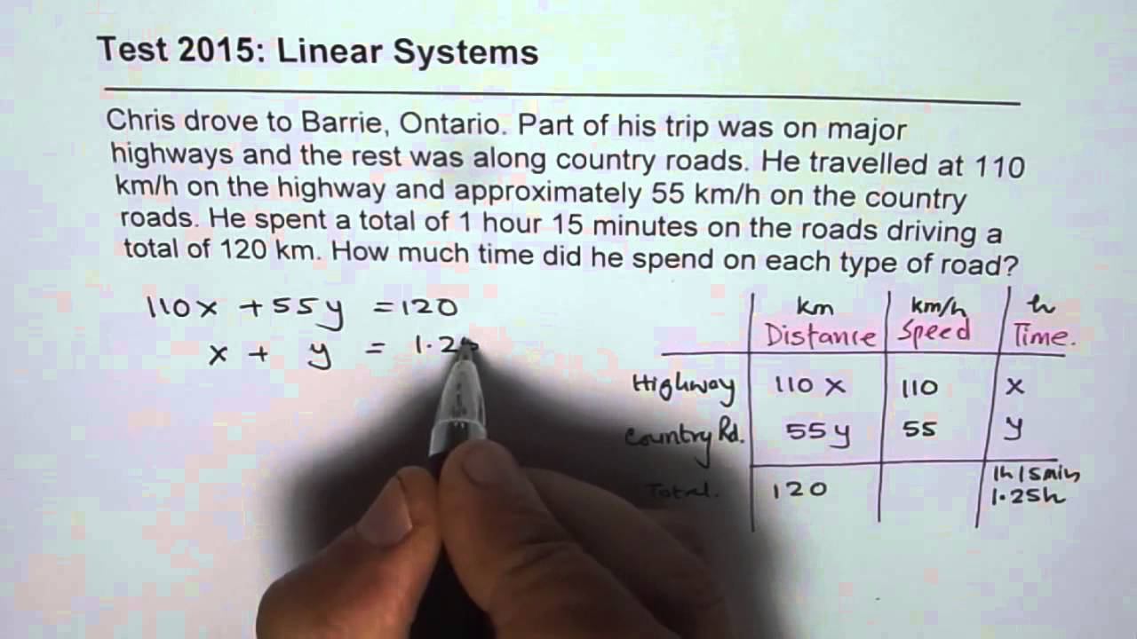 Linear System Test Distance Time Speed Word Problem - YouTube