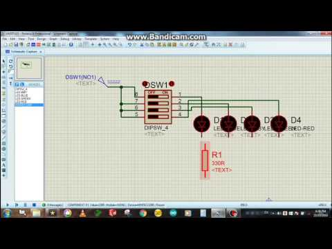 DIP switch controlled LED Light System - Proteus Simulation