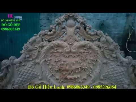 Giường Ngủ Đẹp Gỗ Cẩm Lai, đục Hồng Công kênh bong, cao1m97, kt 1m80 x 2m20. Đồ Gỗ Hiền Lanh