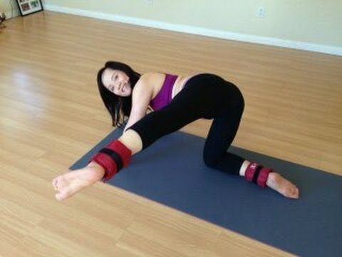 yoga strong legs and sexy buttocks with ankle weights
