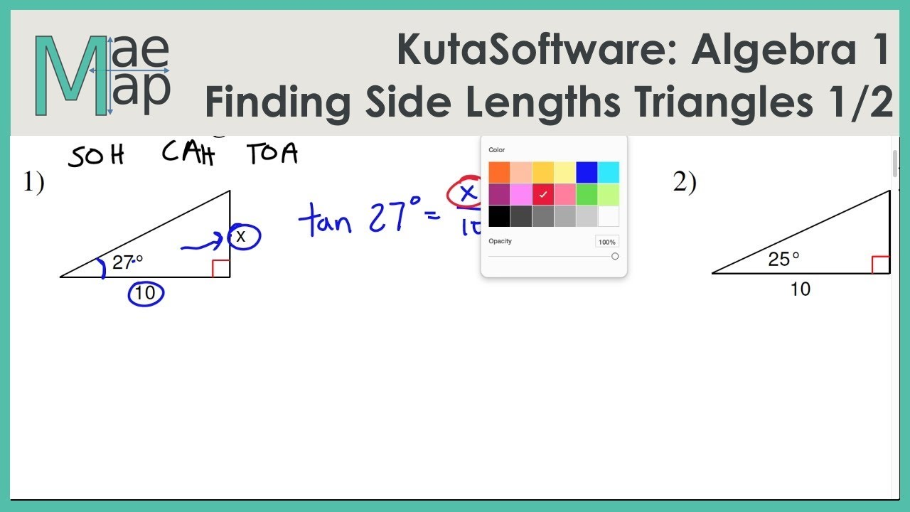 Kutasoftware Algebra 1 Using Trigonometry To Find Side Length Part 1