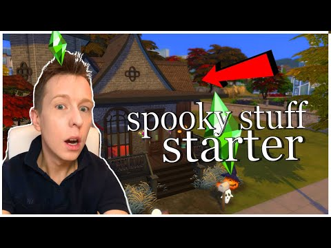 20K BASE GAME HOUSE + Spooky Stuff DLC Stuff Pack Starter Home Happy Halloween! Sims 4 Speed Build |