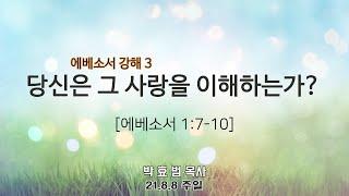 2021년 8월 8일 4부 주일예배(청년부예배) 설교 박효범 목사