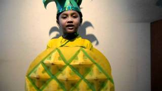 Winning entry of Vedant as Pineapple in Fancy dress..