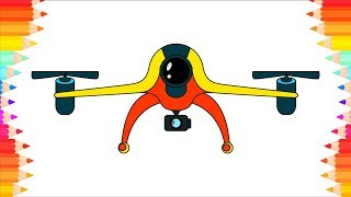 How to Draw Drone for Kids. Step by Step Art Drawing Lessons. DIY Coloring Pages for Children