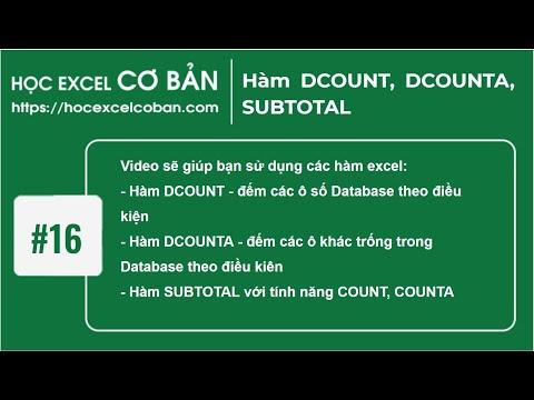 Học Excel cơ bản | #16 Hàm DCOUNT, DCOUNTA, SUBTOTAL