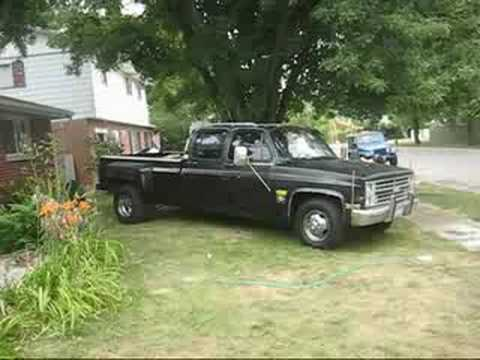 85 Chevy C30 Dually 454 Open Headers and Burnout - YouTube