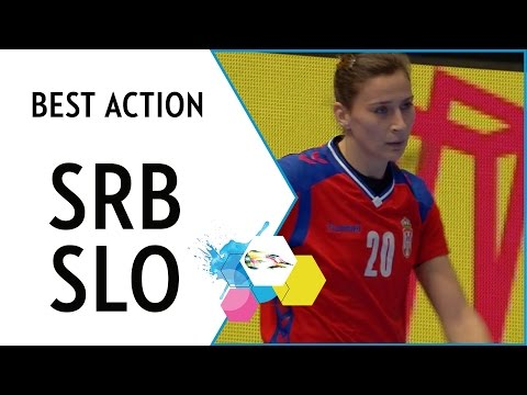 Pop-Lazic finishes a great behind-the-back assist   Serbia vs Slovenia   EHF EURO 2016