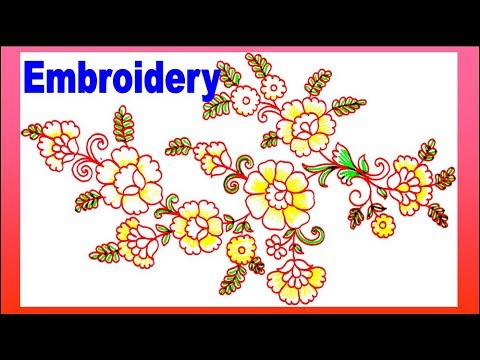 Draw Flower Design For Embroidery Work Colour Pen Design Youtube