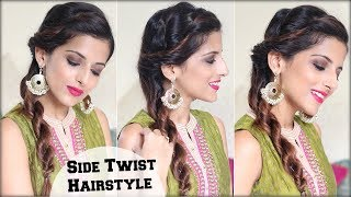 1 MIN Everyday Quick Twist Indian Hairstyle For Medium Hair/ Easy Hairstyle For The Festive Season