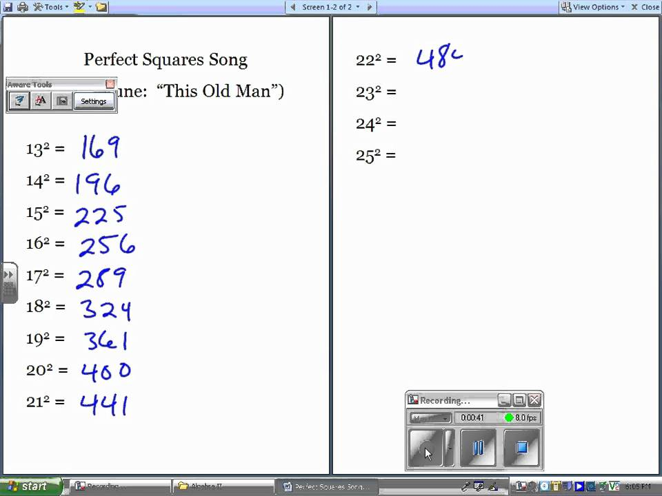 25 30 Square Root 123: Perfects Squares Song.wmv
