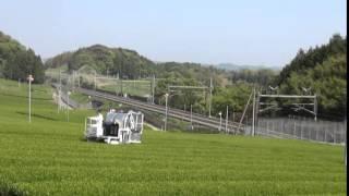新幹線と乗用型摘採機 KJ-4C/Bullet train & Multi-purpose tea harvester