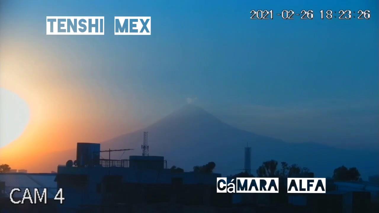 Atardecer Volcán Popocatépetl Con colores Azul y Rojo 26 Febrero 2021 Cámara Alfa