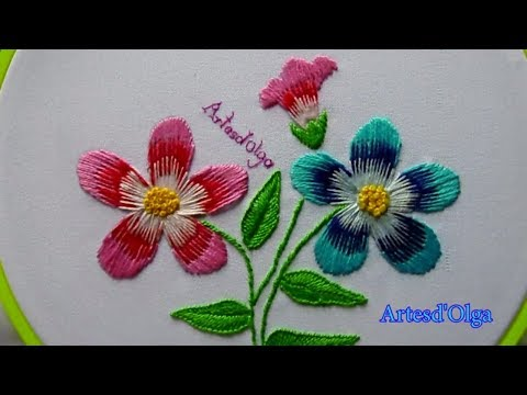 Hand Embroidery: Long and Short Stitch Flowers  Bordados a mano: Flores en Puntada Larga y Corta