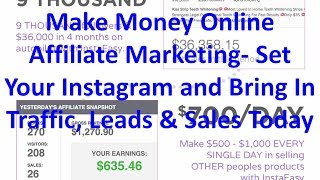 Make money online affiliate marketing | set your instagram and bring in traffic, leads & sales today