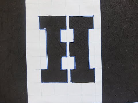 DIY Stencil letter H with Grid Paper Craft