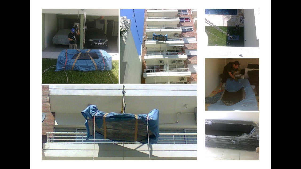 Izaje de muebles con sogas por balc n terraza heladera for Sillones de balcon