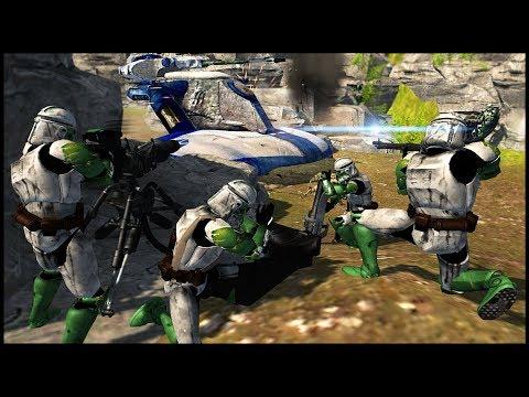 Clones Ambush from Canyon Walls! - Men of War: Star Wars Mod Battle Simulator